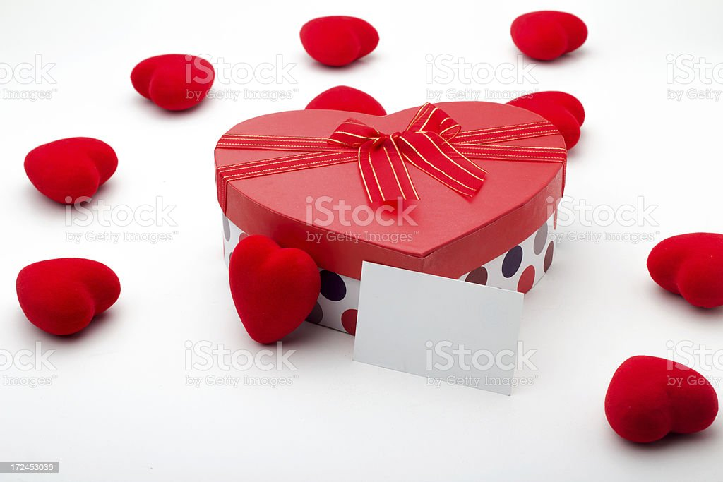 Heart shape gift box with a empty card royalty-free stock photo