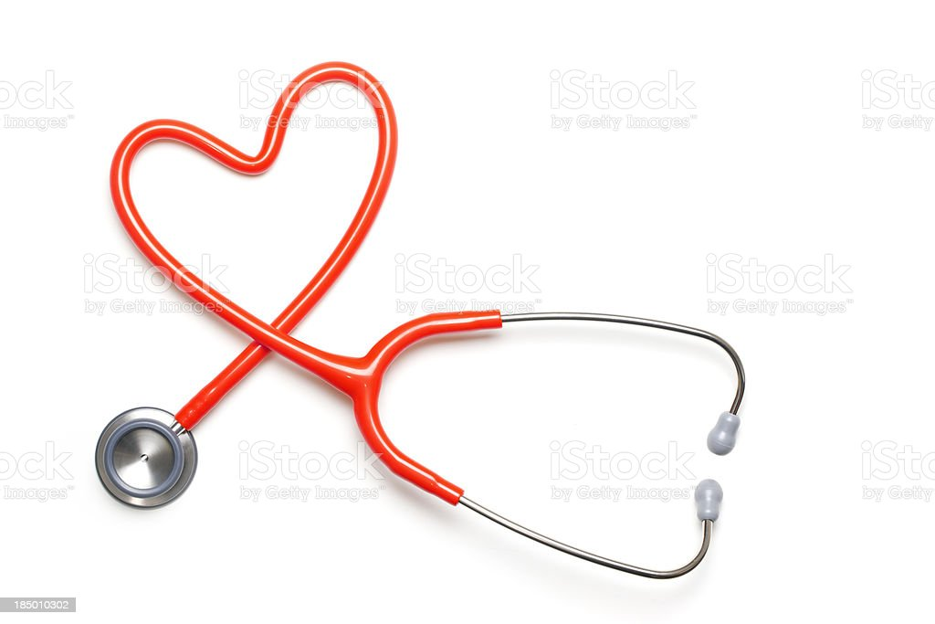 Heart Shape Healthcare Stethoscope White Background Medical royalty-free stock photo