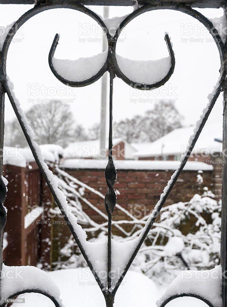 Heart Shape In A Wintery Scene stock photo