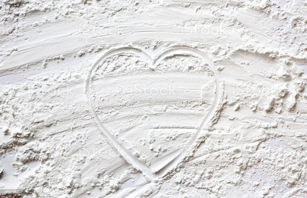 Heart shape in baking flour royalty-free stock photo