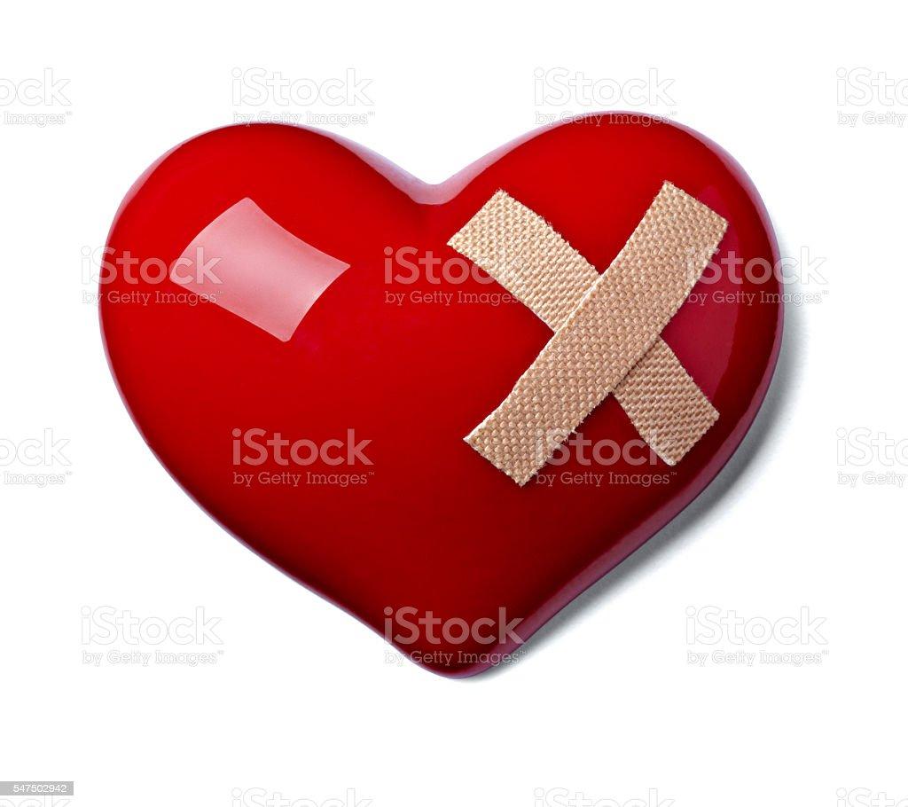 heart shape love bandage hurt stock photo