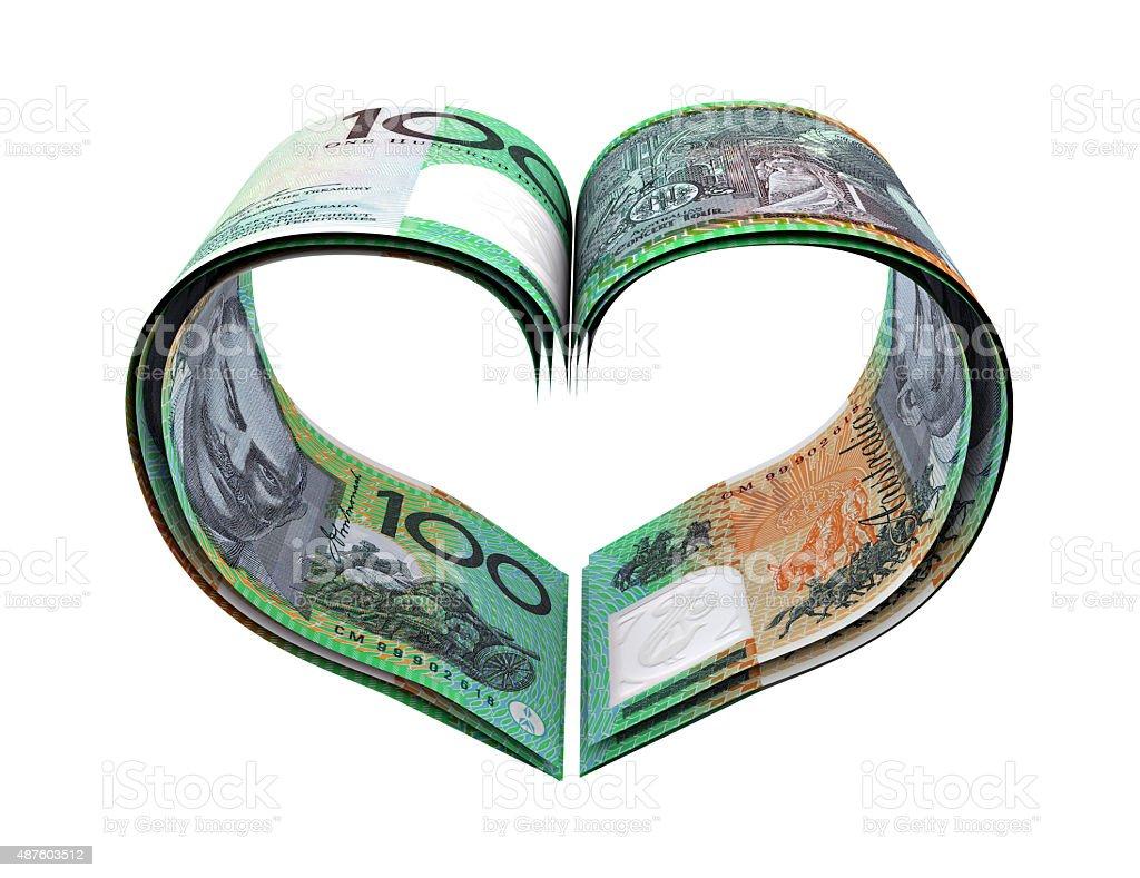 Heart Shape Made Australian Dollar stock photo