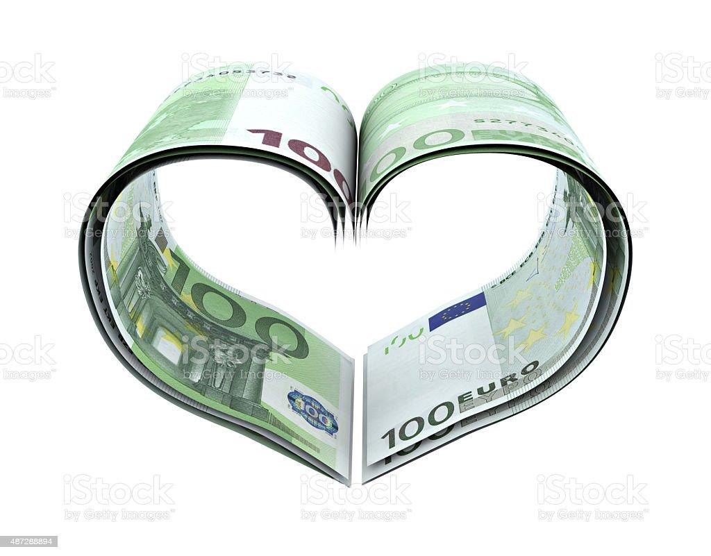 Heart Shape Made Euro stock photo