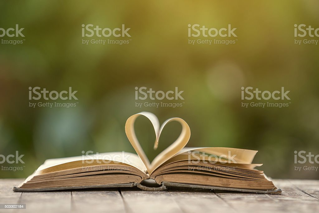 Heart shape made from book pages stock photo
