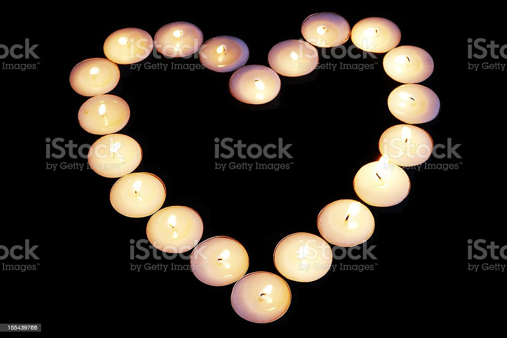 Heart shape made from candles royalty-free stock photo