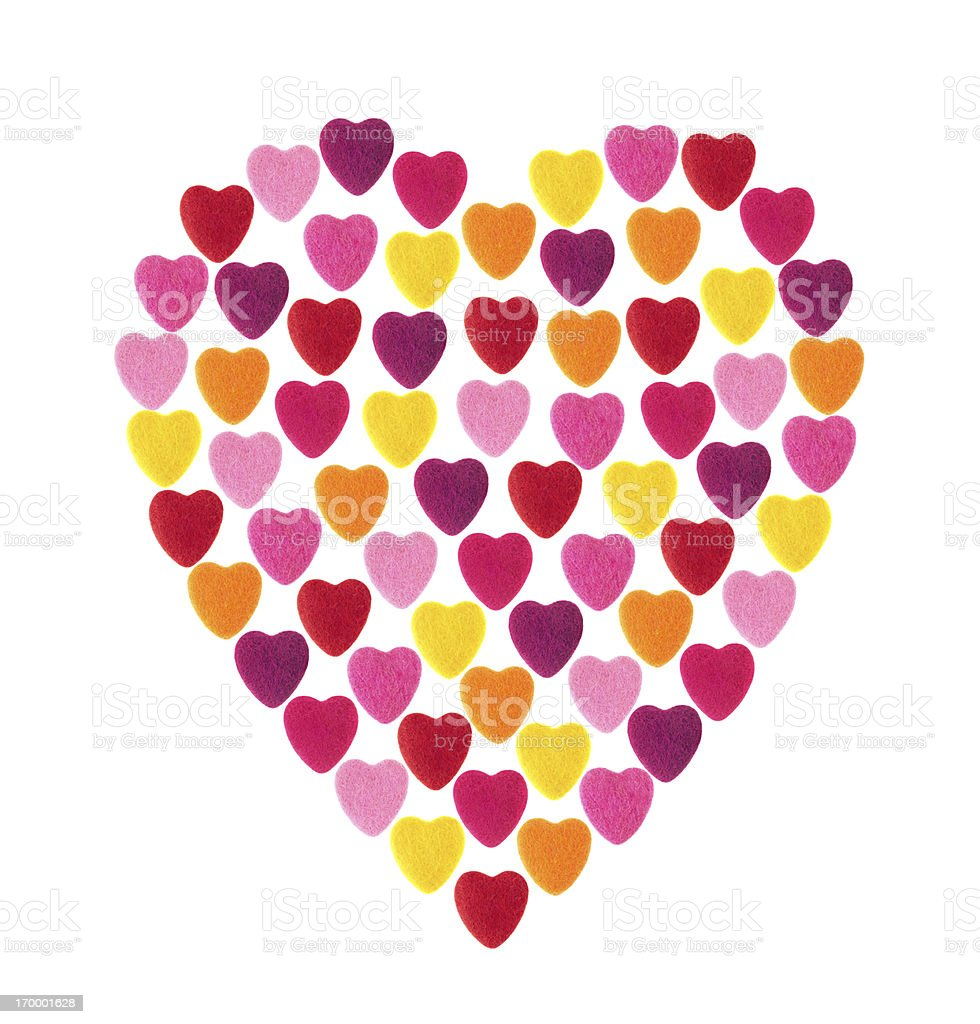 Heart shape made from several smaller hearts royalty-free stock photo