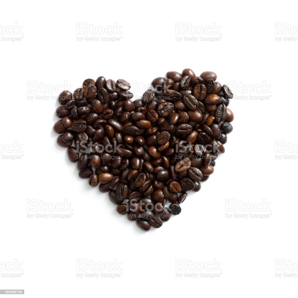 Heart shape made of coffee beans stock photo