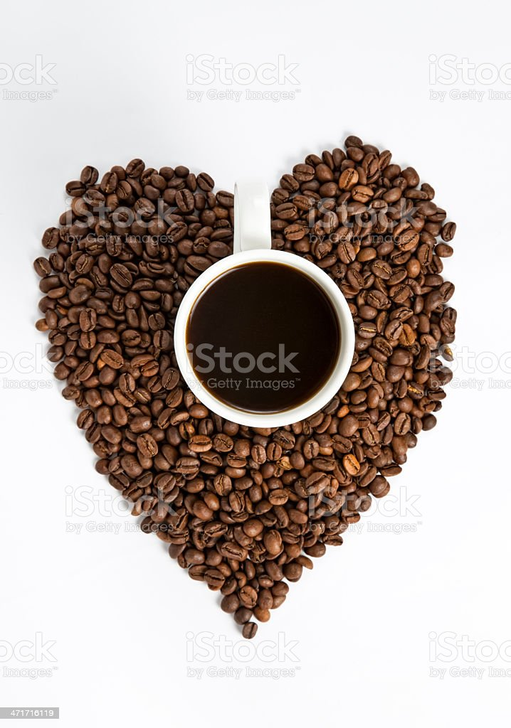 Heart shape made of coffee beans royalty-free stock photo