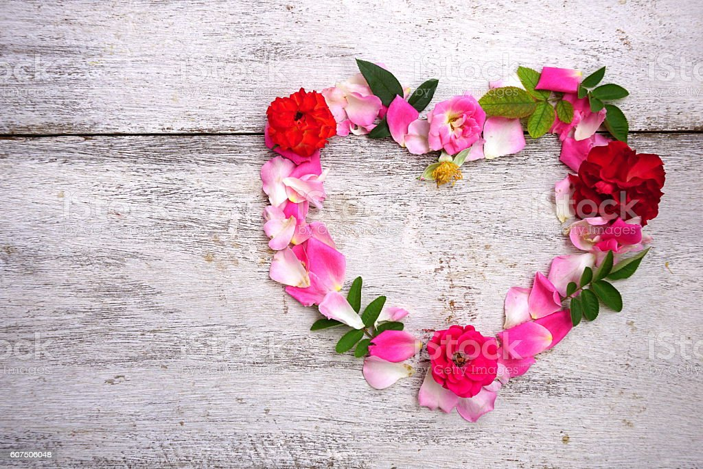 heart shape made of flowers for valentine or wedding background stock photo