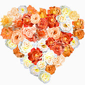 Heart shape made of multicolored roses