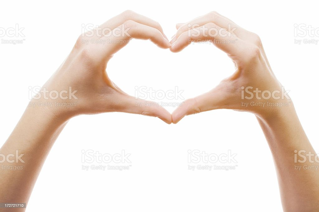 heart shape made of two beautiful palms royalty-free stock photo