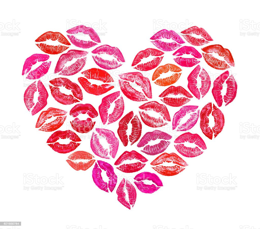 heart shape made with colourful print kisses stock photo