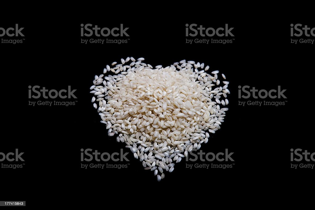 Heart shape made with rice royalty-free stock photo