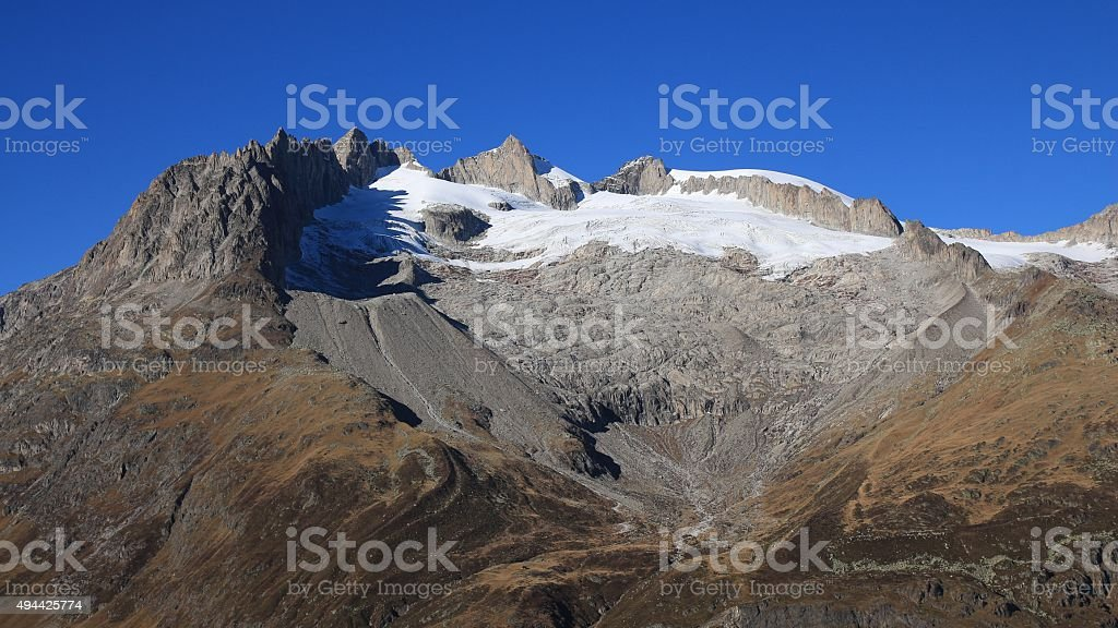 Heart shape on a mountain in the Swiss Alps stock photo