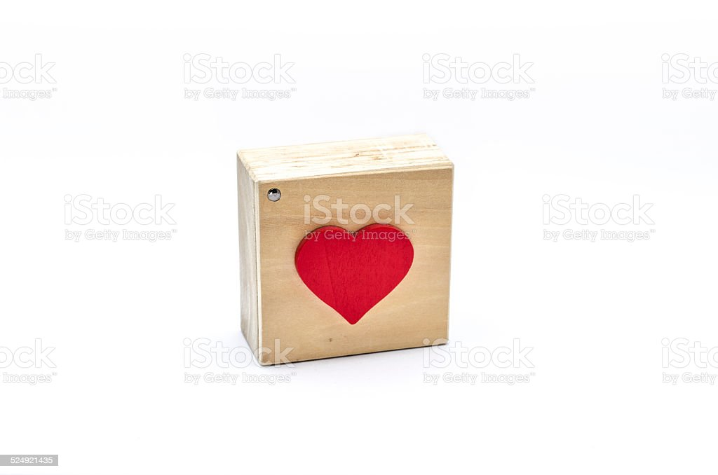 Heart shape on a wooden box royalty-free stock photo