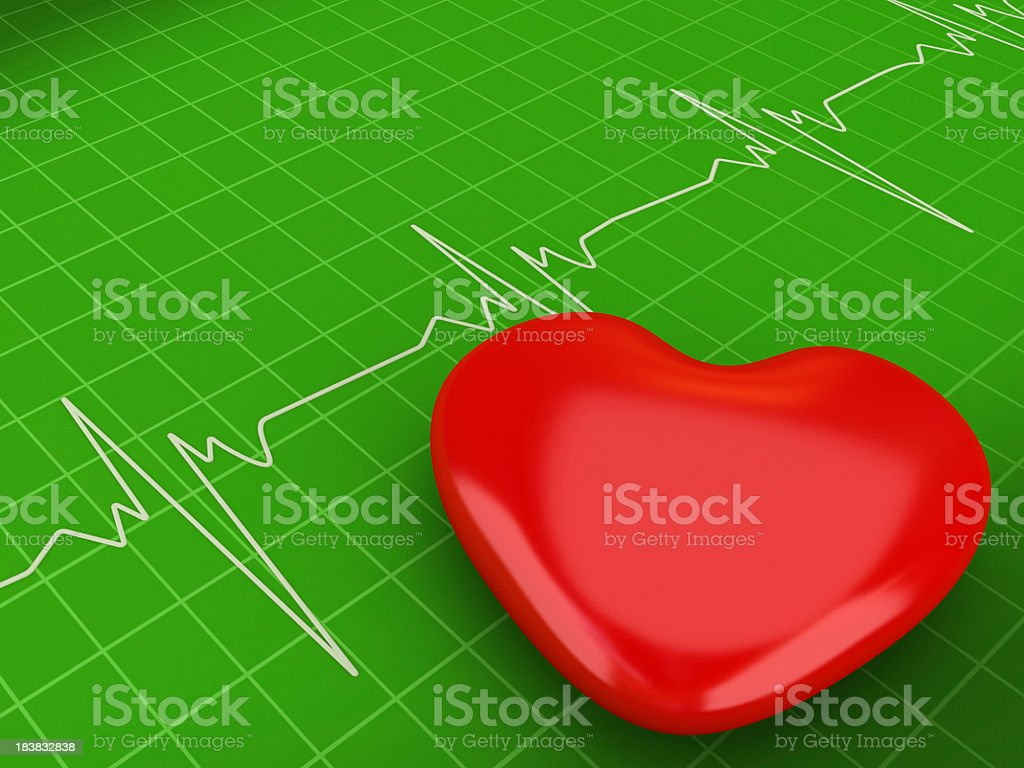 Heart Shape on an Cardiogram royalty-free stock photo