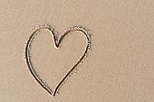 Heart shape on sand beach