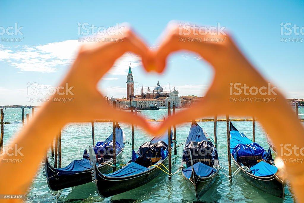 Heart shape on Venice city background stock photo