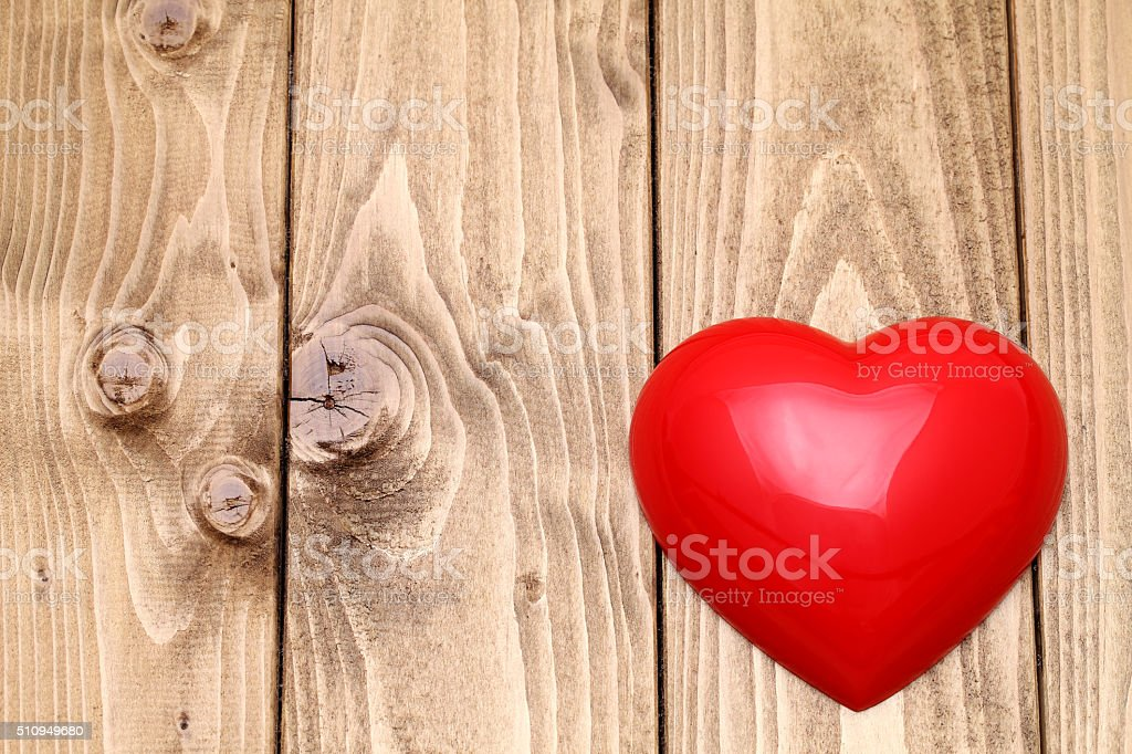heart shape on wooden background stock photo