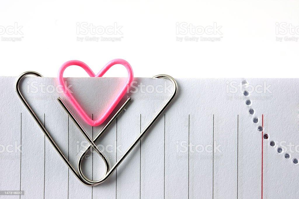 heart shape paper clip royalty-free stock photo