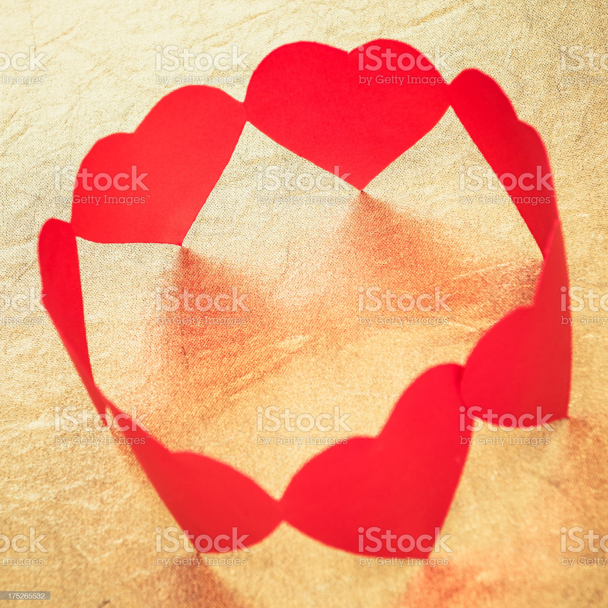 Heart shape paper dolls in circle - st valentine concept royalty-free stock photo