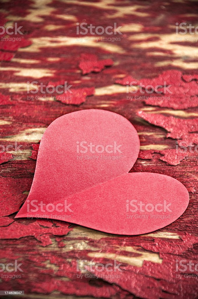Heart shape paper on blank wood royalty-free stock photo