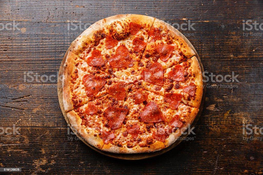 Heart shape Pepperoni Pizza stock photo