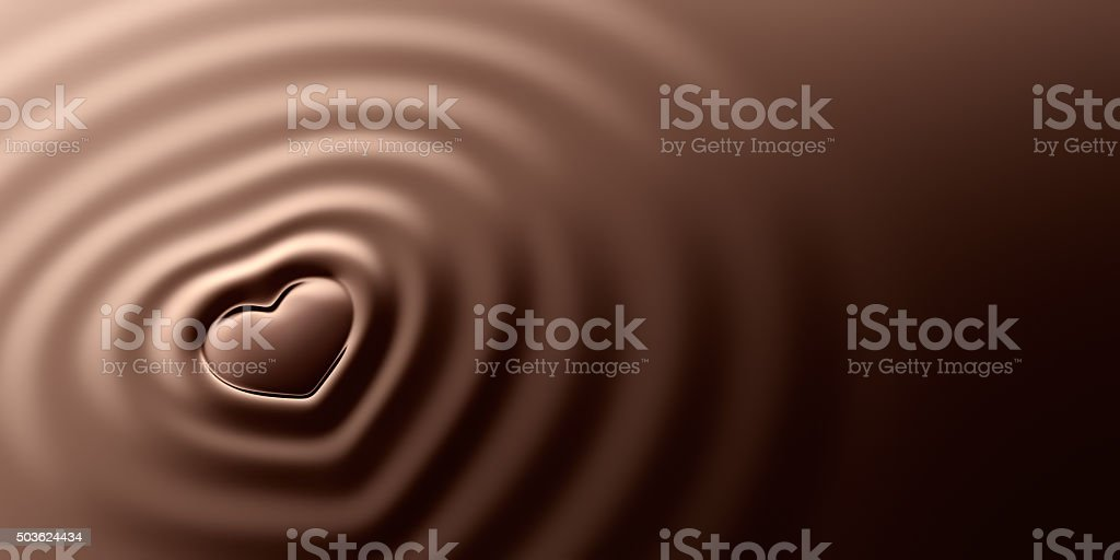 Heart Shape Ripples On Chocolate stock photo