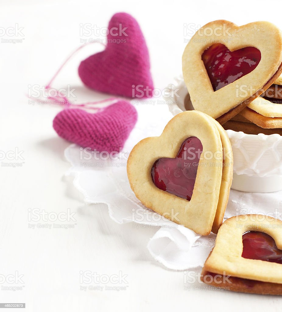 Heart shape sandwich with strawberry jam stock photo