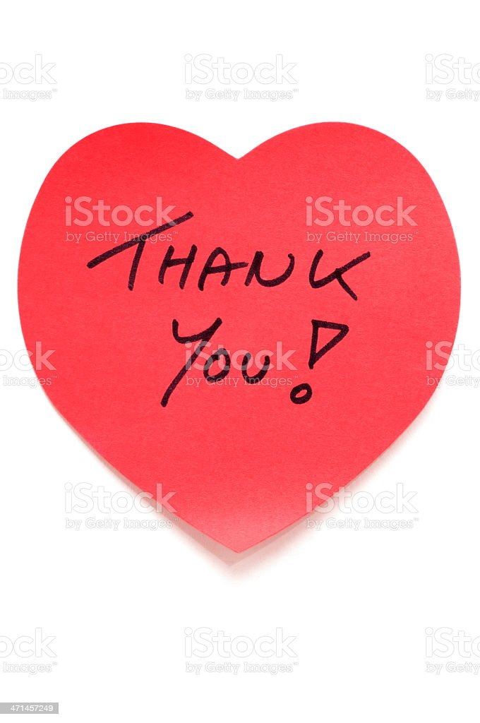 Heart shape Thank You post-it note stock photo