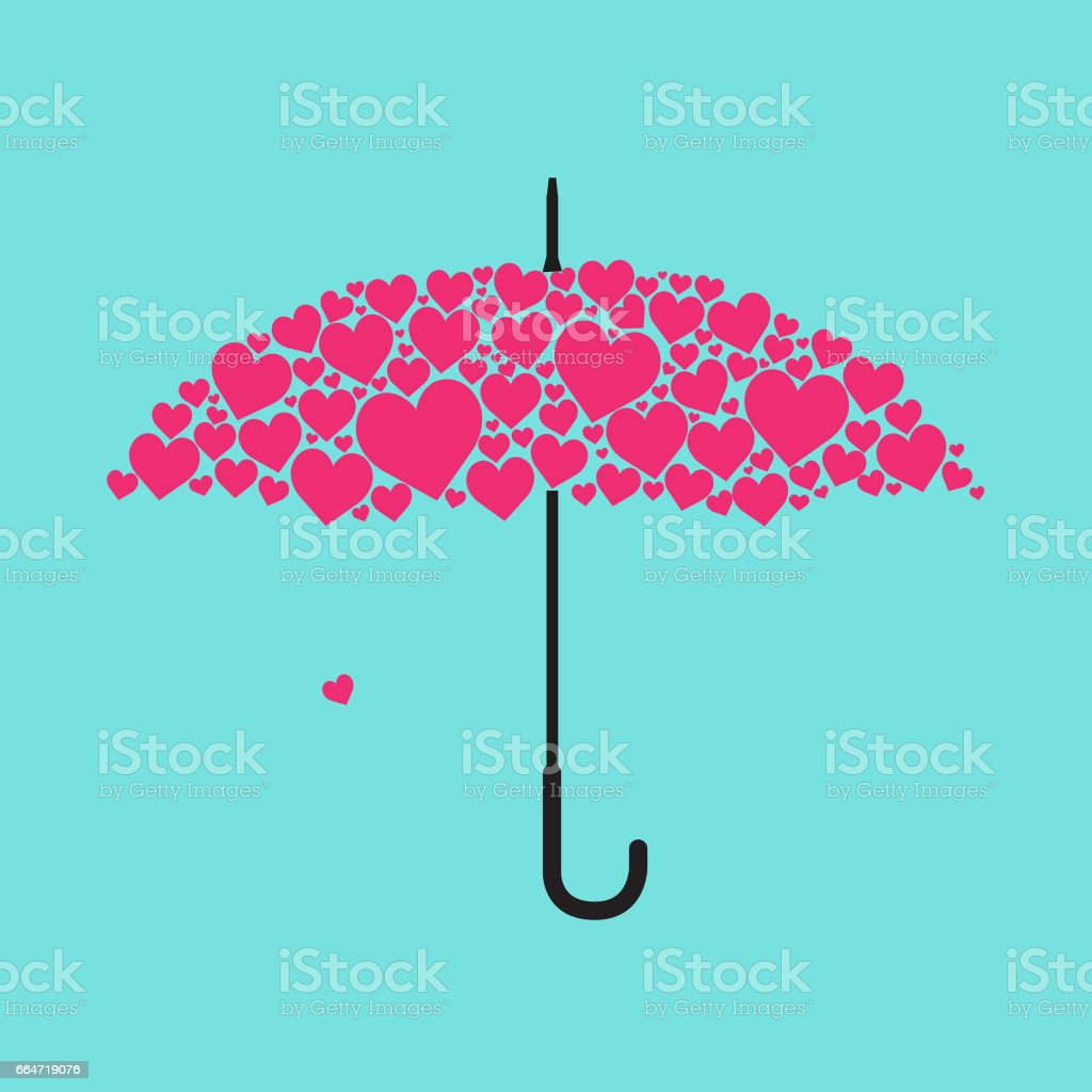 Heart shape umbrella stock photo