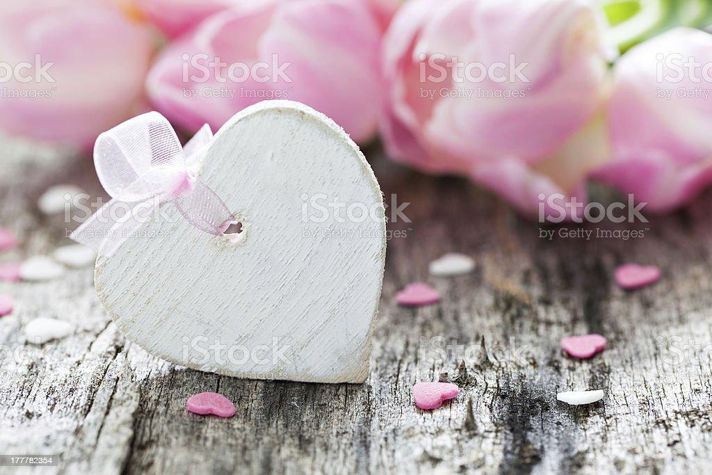 heart shape with bow royalty-free stock photo