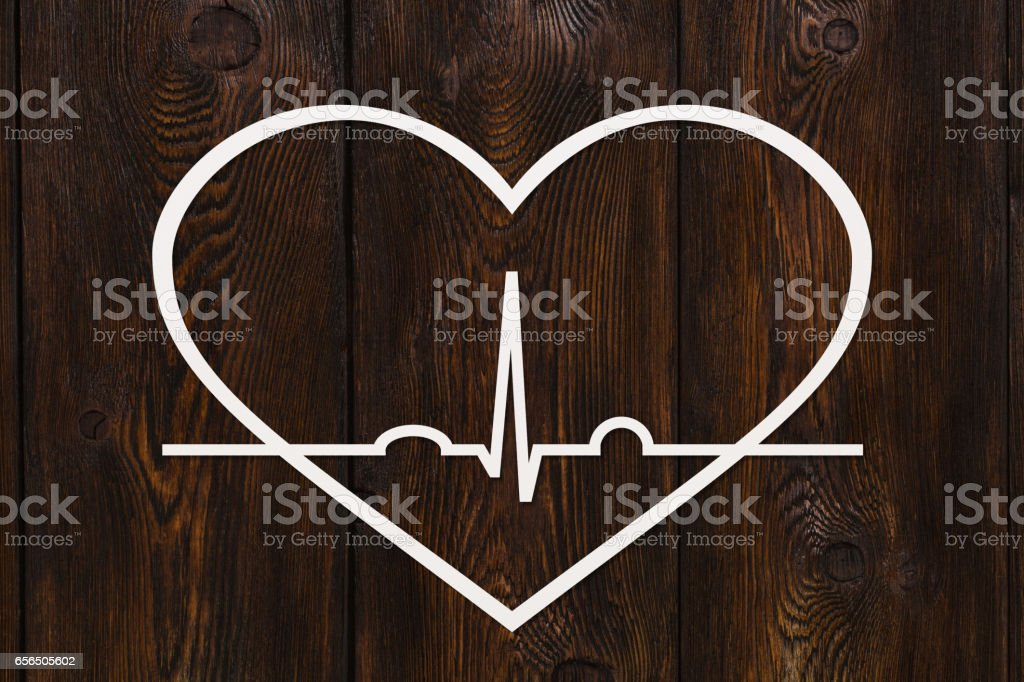 Heart shape with echocardiogram. Health or cardiology concept stock photo