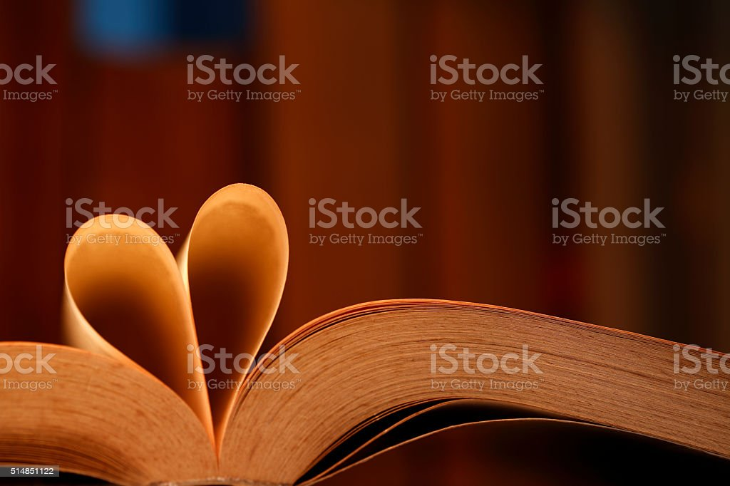 Heart shape with pages of book stock photo