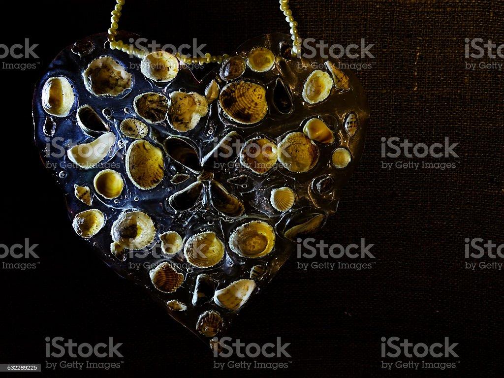 heart shape with seashells stock photo