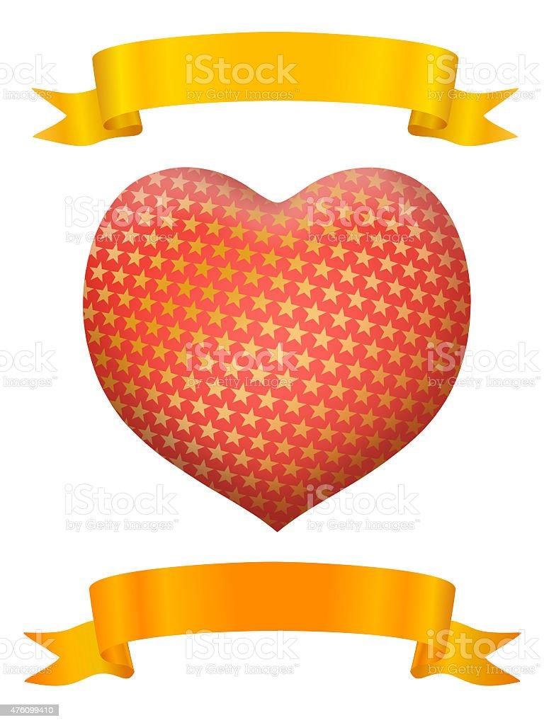 Coeur avec ruban d'or deux photo libre de droits