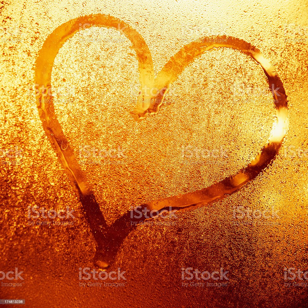 Heart Shape written on glass for St. Valentine stock photo