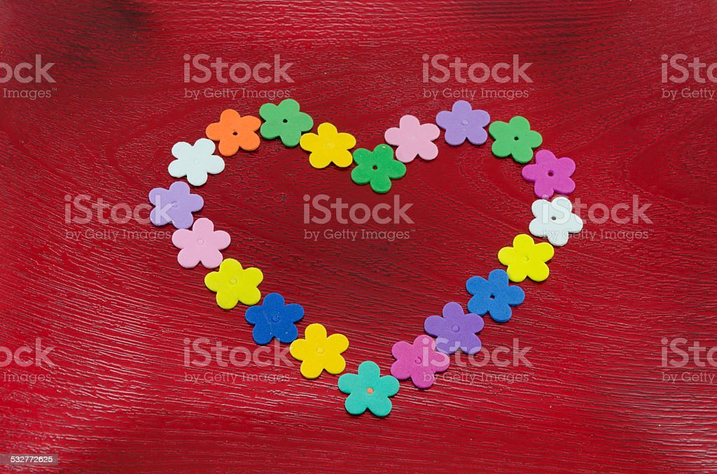 Heart shaped artificial flower buds royalty-free stock photo