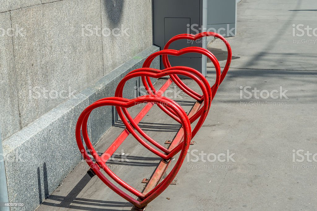 Heart shaped bike rack stock photo