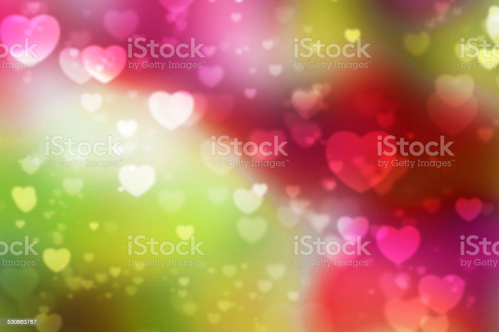 Heart shaped bokeh background stock photo