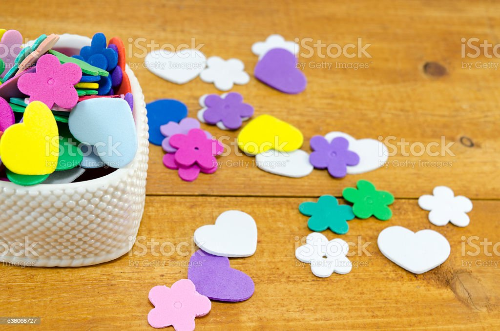 Heart shaped box filled with colorful paper hearts and flowers royalty-free stock photo