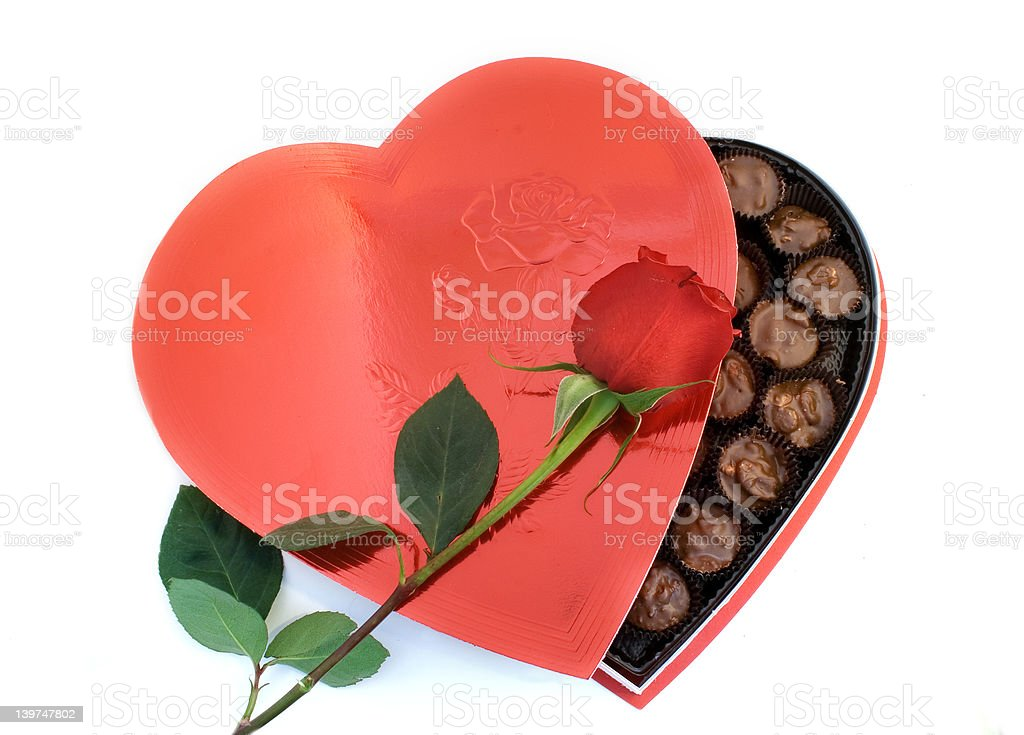 Heart shaped box with a Rose royalty-free stock photo