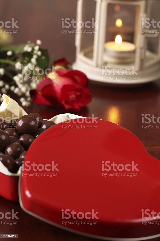 Heart shaped box with chocolate royalty-free stock photo