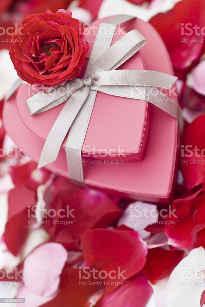 Heart shaped boxes with single red rose on petal background royalty-free stock photo