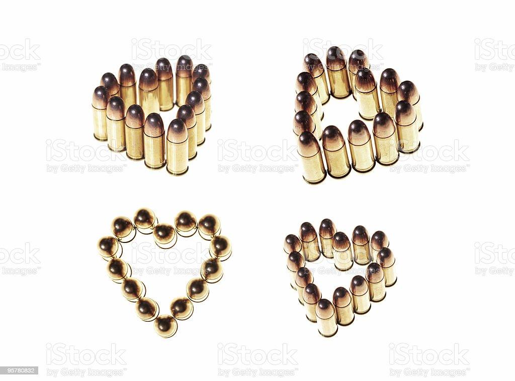 heart shaped bullets stock photo