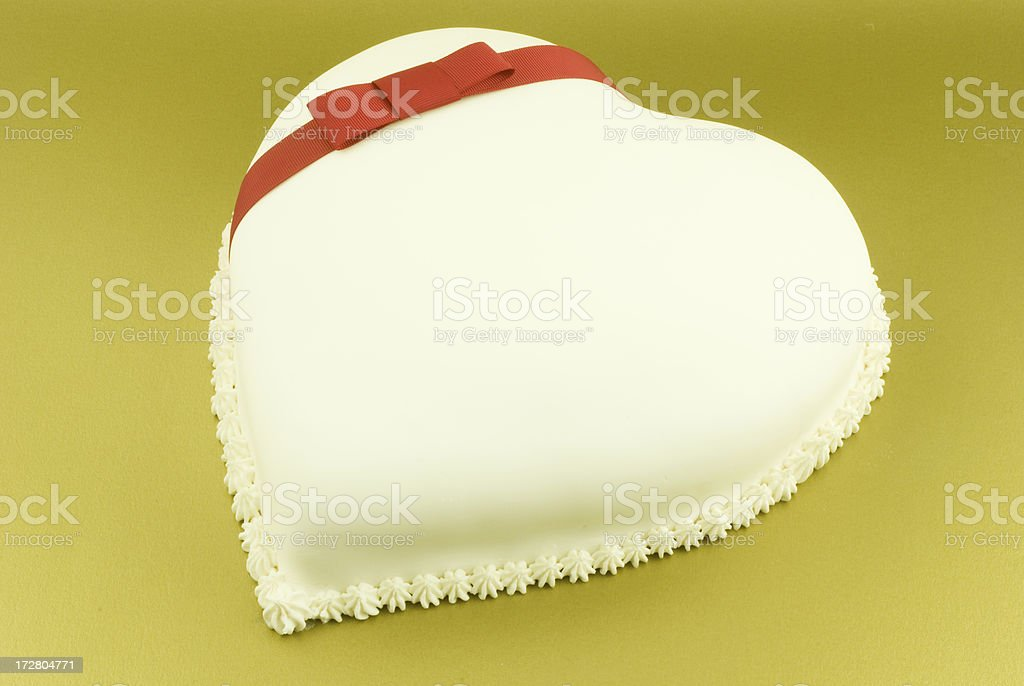 Heart Shaped Cake with red bow stock photo