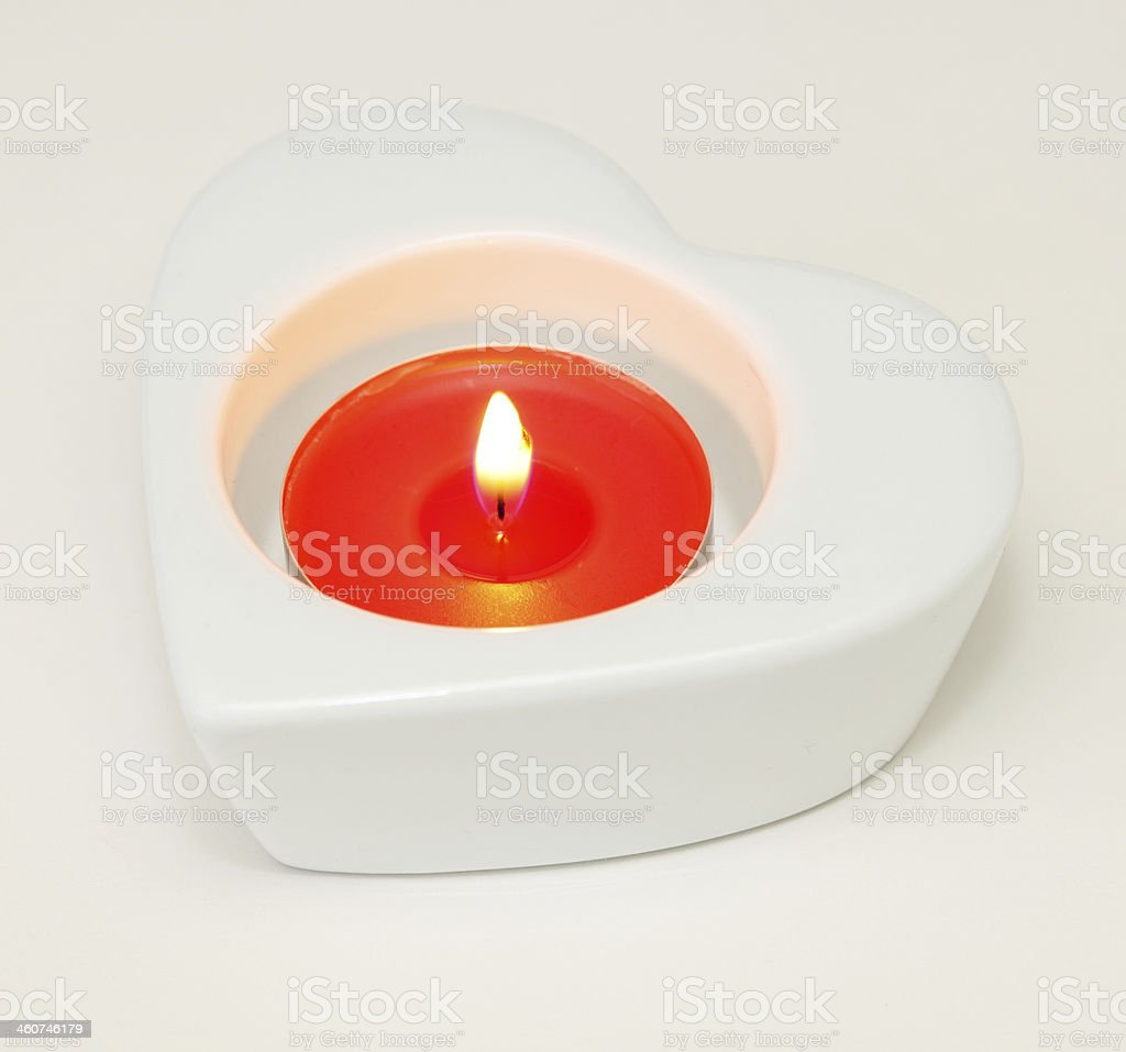 heart shaped candle holder stock photo