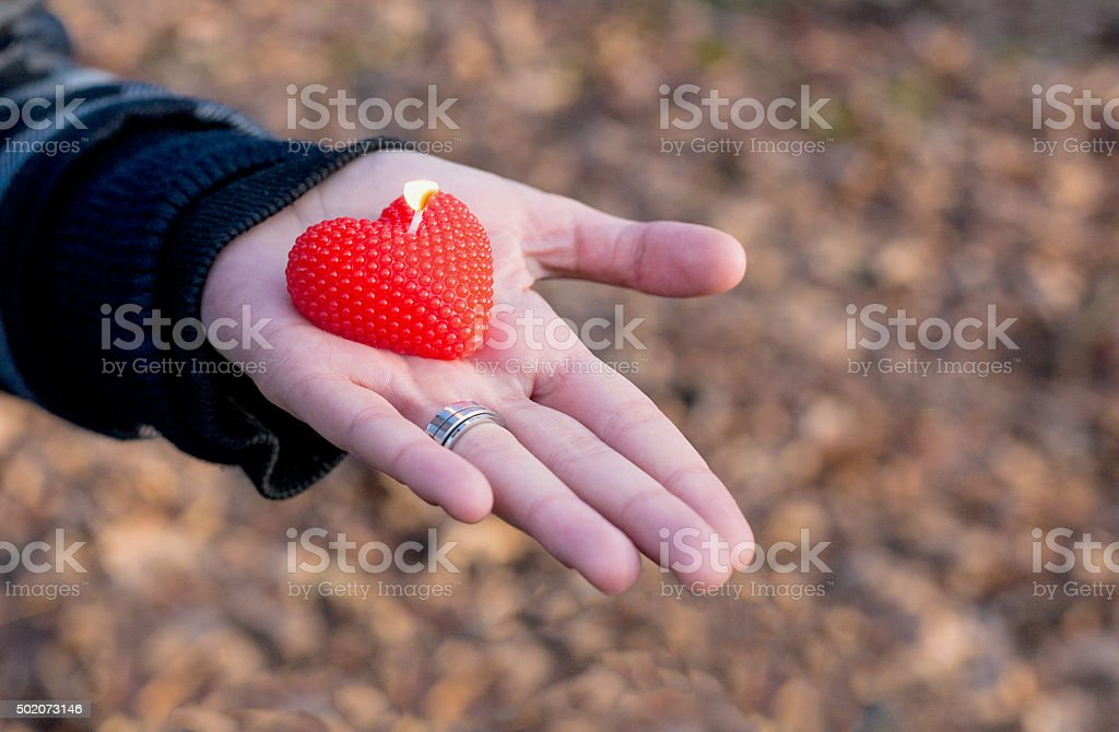 Heart shaped candle in the palm royalty-free stock photo