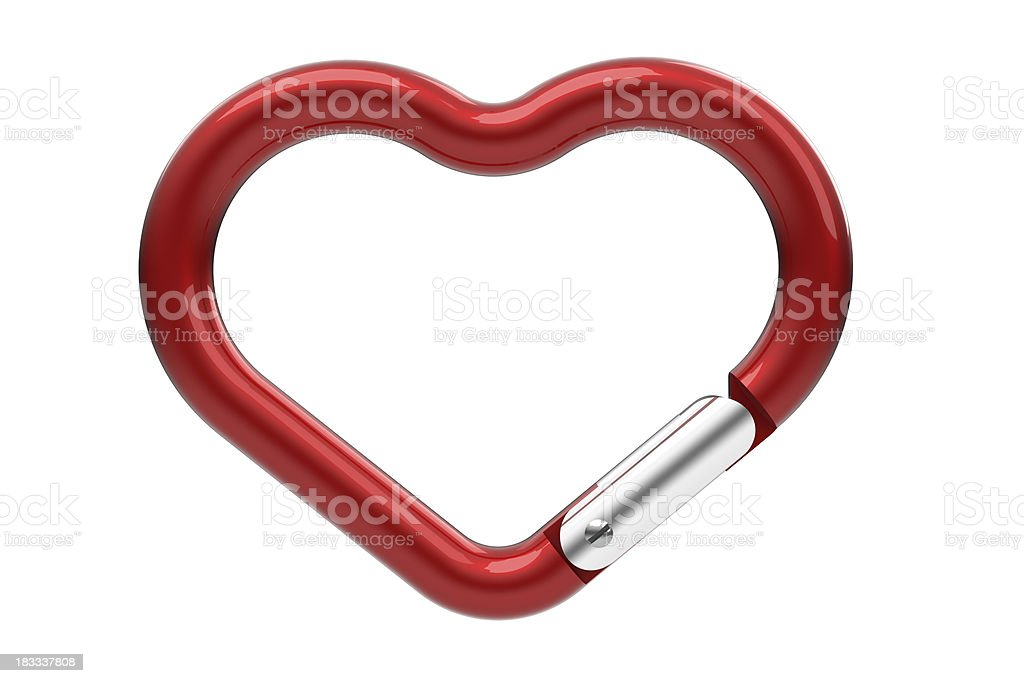 Heart shaped carabiner stock photo