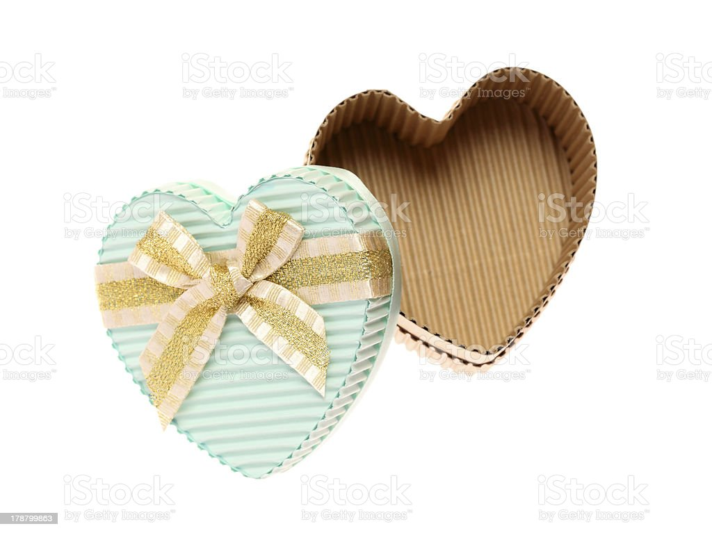 heart shaped cardboard box stock photo